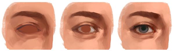 Cómo dibujar y pintar ojos en Photoshop, segundos pasos, Dibucorp