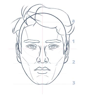 Cómo dibujar un rostro realista de frente fácil paso a paso, Paso 12