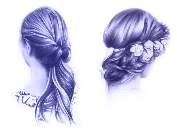 Forma y volumen para dibujar cabello, dibujos de cabello realista, Dibucorp