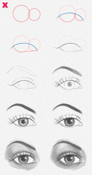 Cómo dibujar y sombrear ojos de manera rápida, Dibucorp